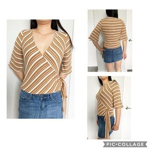 NWT Socialite Stripped Ribbed Wrap Top - Size S,M